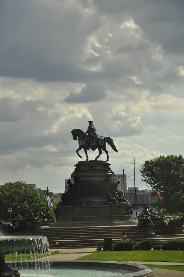 Philadelphfia, o 4 de agosto: Washington Monument de Philadelphfia em Pensilvânia fotografia de stock