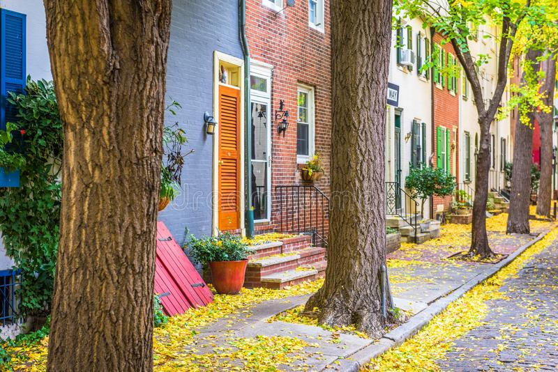 Philadelphfia, Pensilvânia, EUA Autumn Neighborhood Streets imagens de stock royalty free