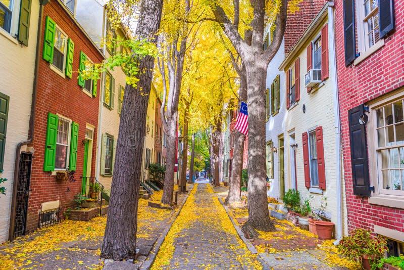 Philadelphfia, Pensilvânia, EUA Autumn Neighborhood Streets fotografia de stock