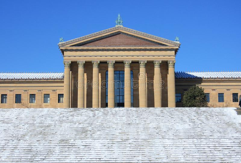 Philadelphia Art Museum después de la caída de la nieve imagen de archivo libre de regalías