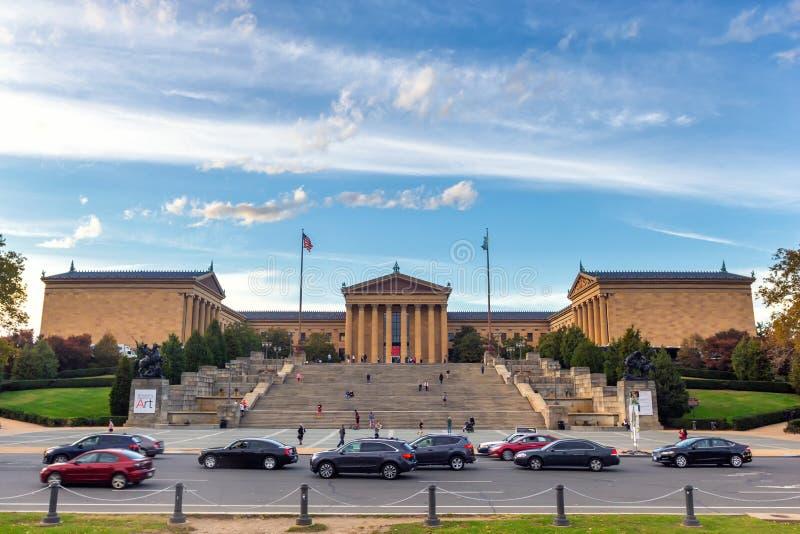 Philadelphia Art Museum en beroemde Rotsachtige stappen stock afbeelding