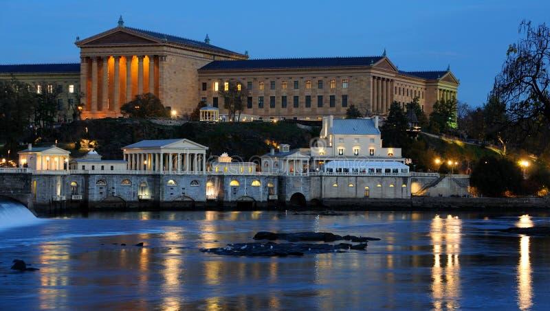 Philadelphia Art Museum and Fairmount Water Works. At Dusk, Pennsylvania royalty free stock image