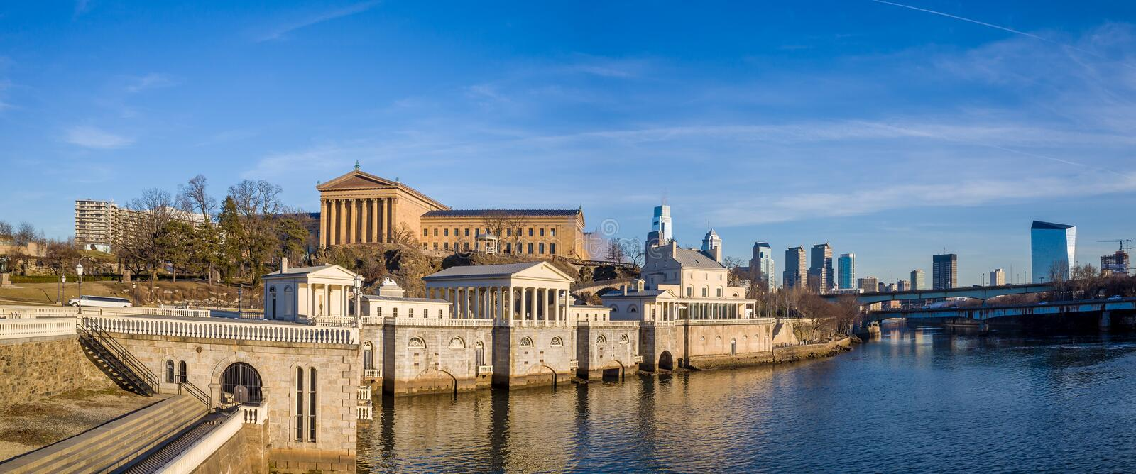 Philadelphia Art Museum and Fairmount Water Works. With blue sky royalty free stock photos