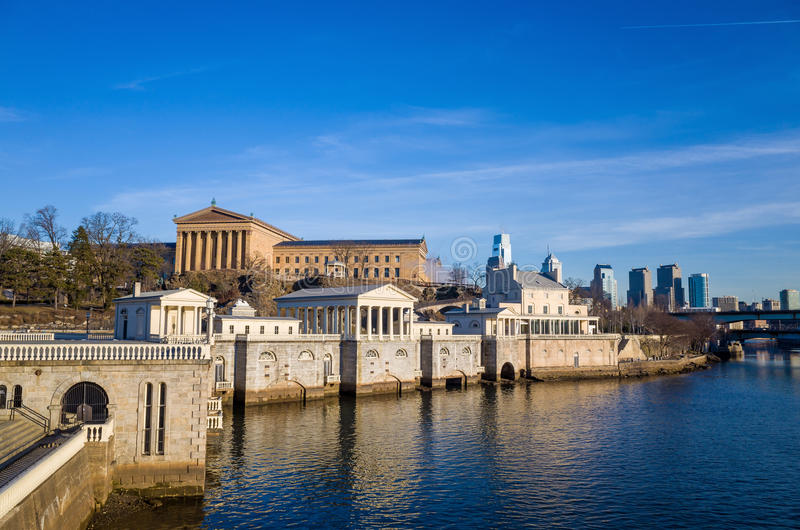 Philadelphia Art Museum and Fairmount Water Works. With blue sky stock images