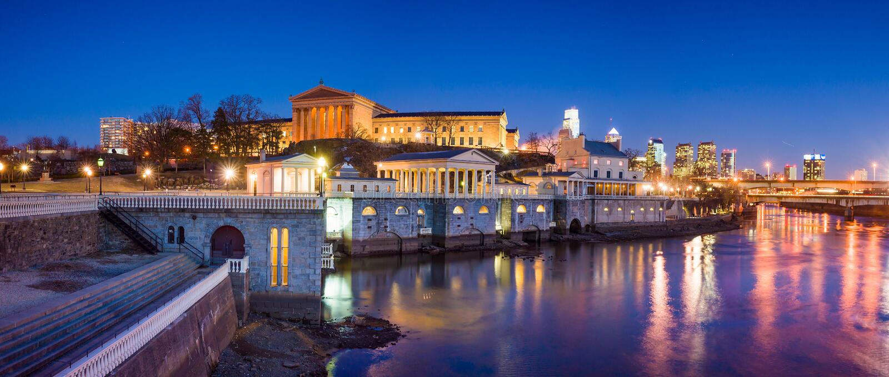 Philadelphia Art Museum and Fairmount Water Works. At twilight stock image