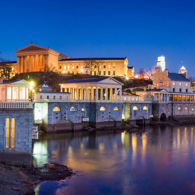Philadelphia Art Museum und Fairmount-Wasserwerk stockbild