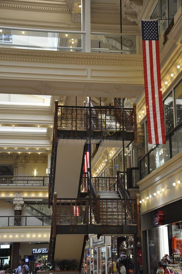 Philadelphia Augusti 4th: Inre för historisk byggnadbörsgalleria från Philadelphia i Pennsylvania royaltyfri fotografi