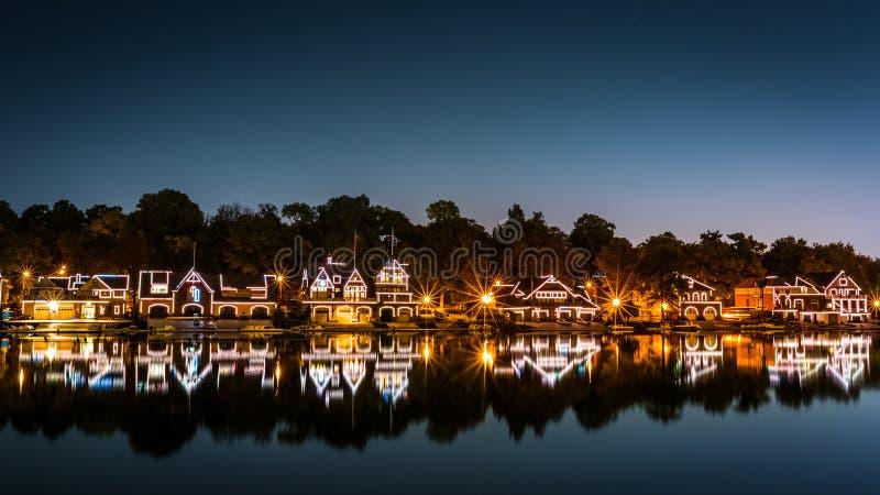 Philadelphia Boathouse Row by night stock images
