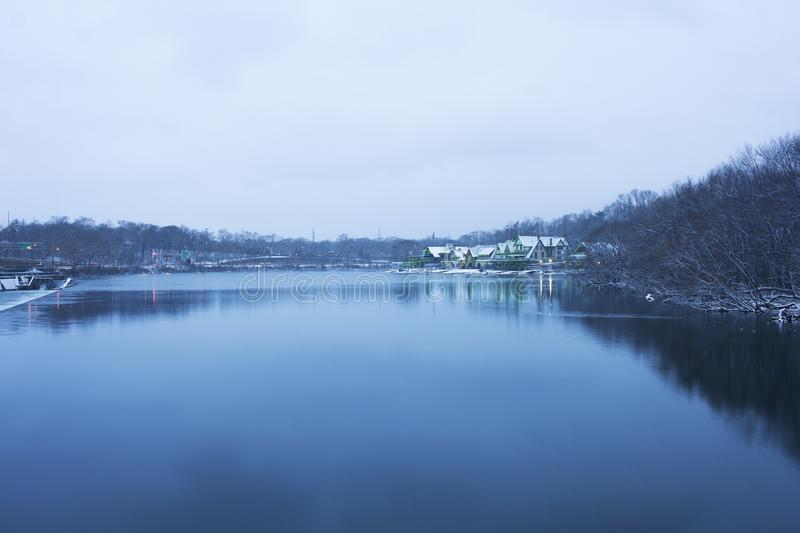 Philadelphia Boathouse Row in the snow royalty free stock image