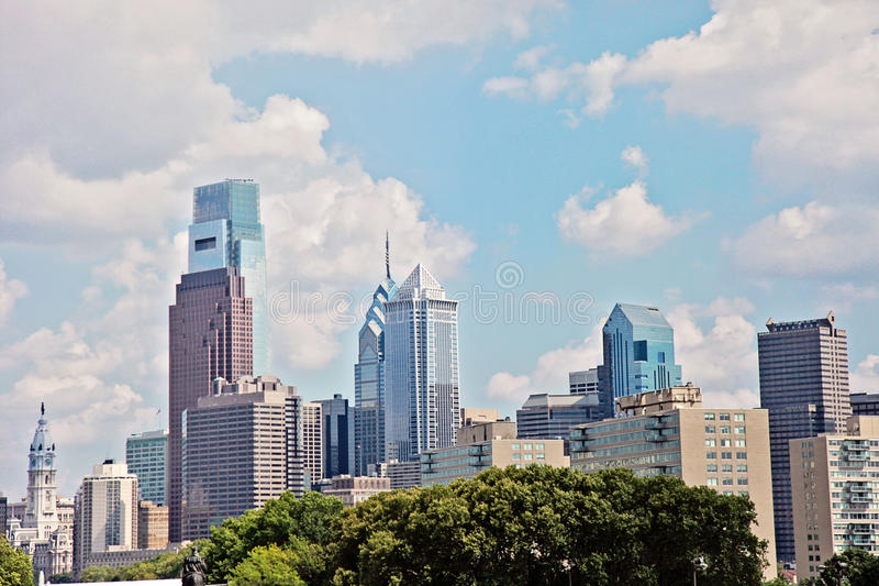 Philadelphia. City buildings above tree line in summer stock images