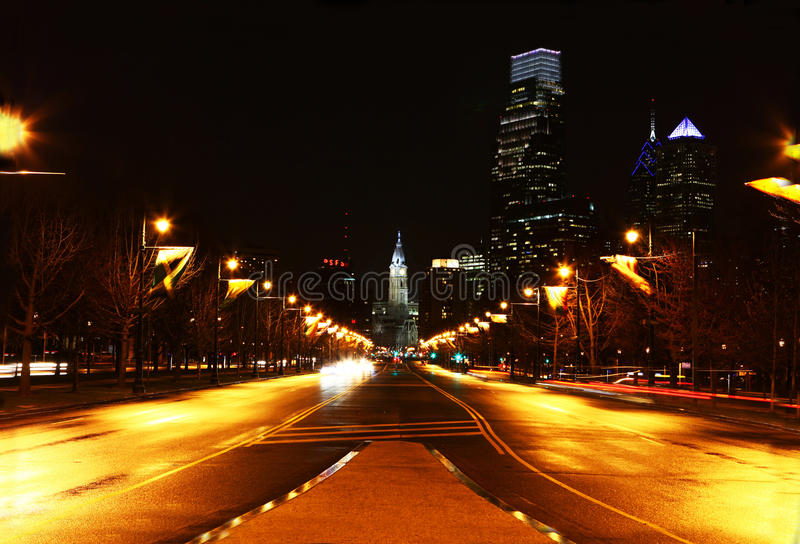 The Philadelphia city center at night royalty free stock images