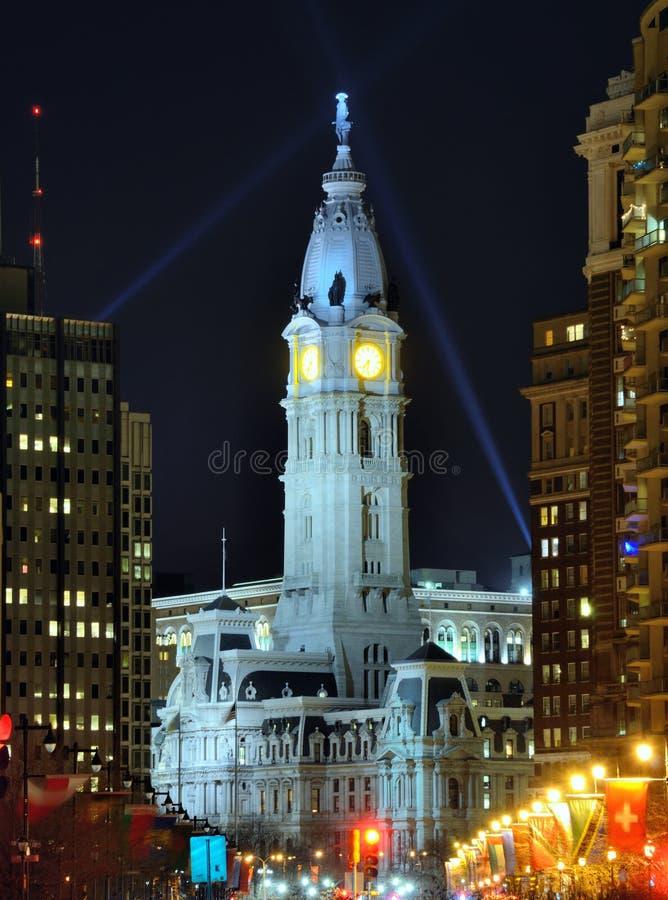 Download Philadelphia City Hall stock photo. Image of clock, night - 23368020