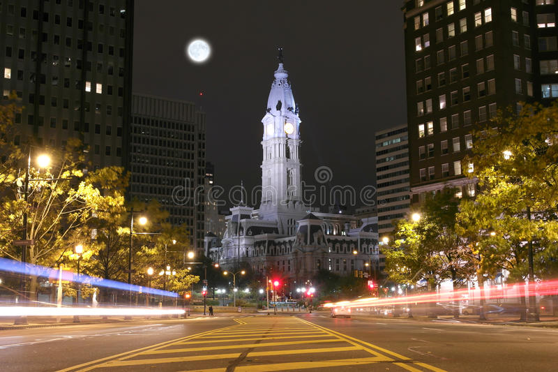 The Philadelphia City Hall building at night stock photos