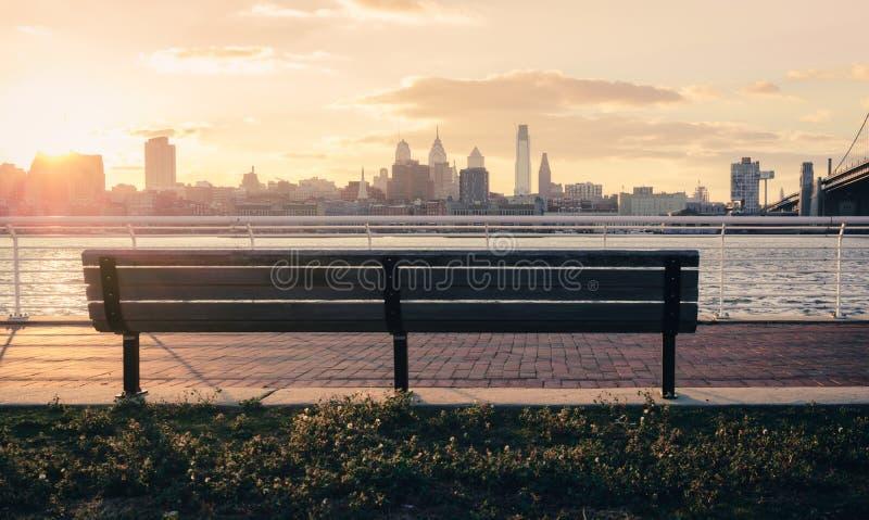 Philadelphia city view. From river bank park stock photos