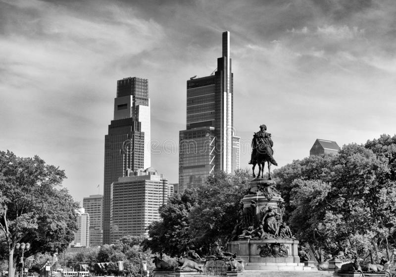 Philadelphia cityscape with the George Washington statue, PA, USA.  stock images