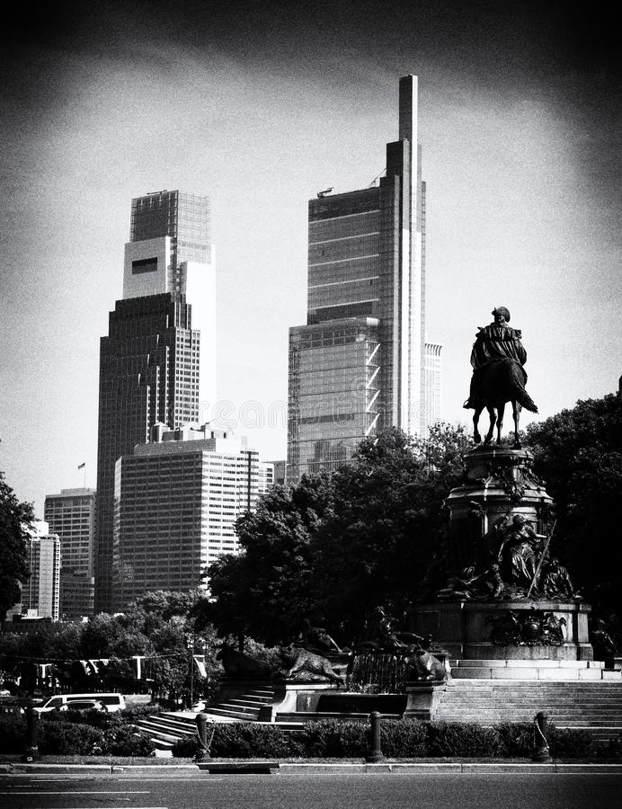 Philadelphia cityscape with the George Washington statue, PA, USA.  royalty free stock photos