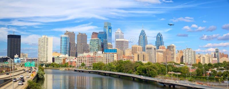 Philadelphia cityscape panorama. Philadelphia downtown skyline panorama, United States stock image