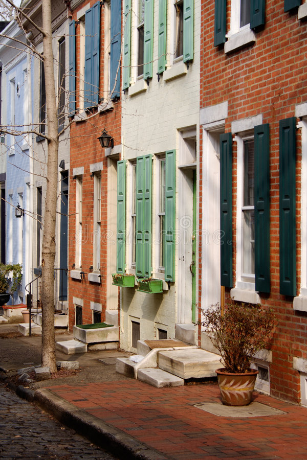 Download Philadelphia Colored Rowhouses Stock Image - Image: 2152259