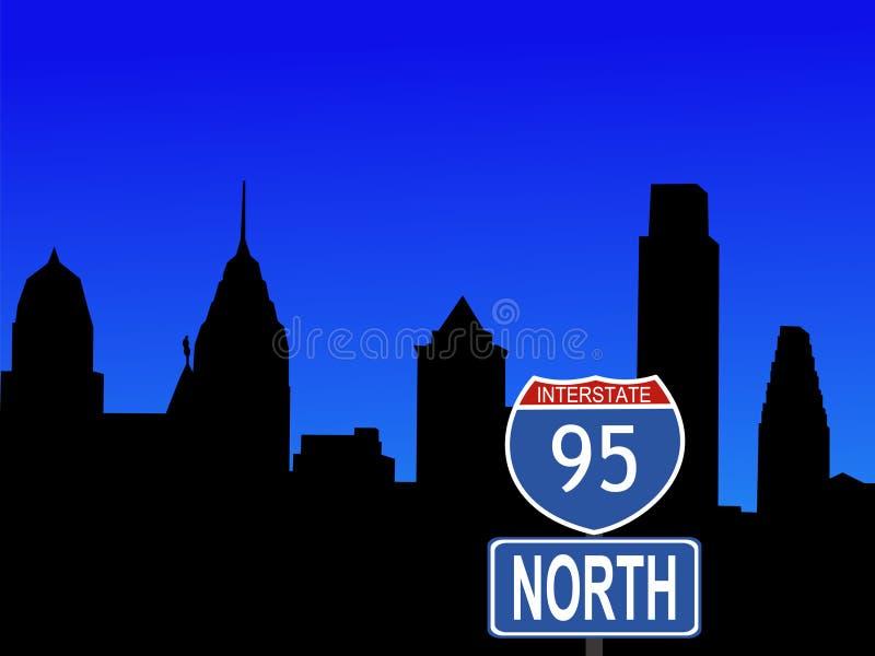 Philadelphia con il segno da uno stato all'altro illustrazione di stock