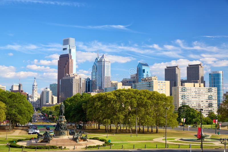 Philadelphia de stad in stock foto