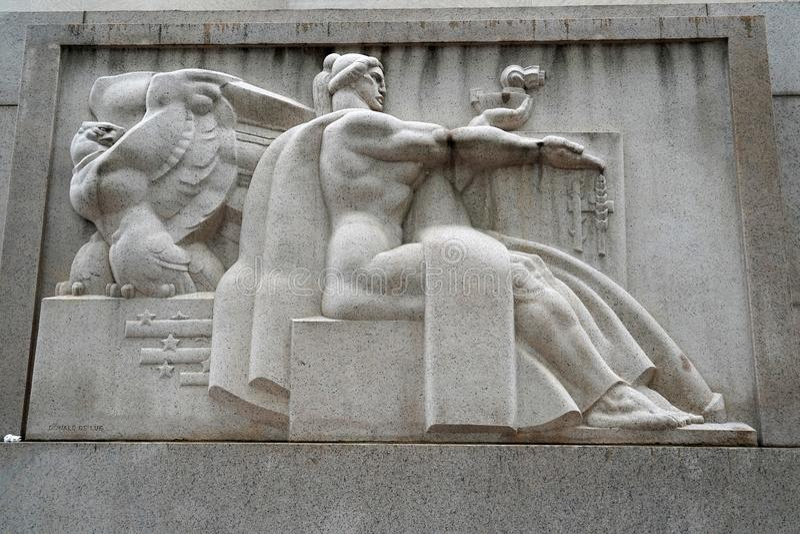PHILADELPHIA, de V.S. - 23 MEI 2018 - oude het postkantoor bas hulp van Philadelphia royalty-vrije stock afbeeldingen