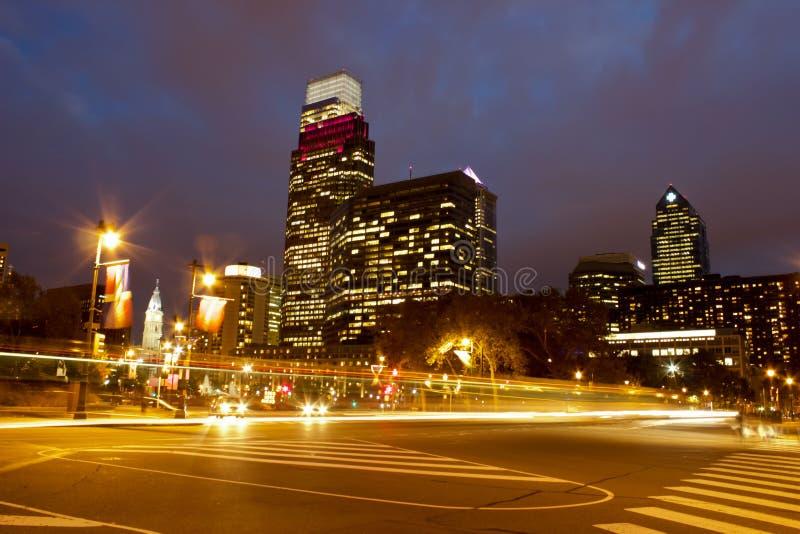 Philadelphia an der Dämmerung stockbilder