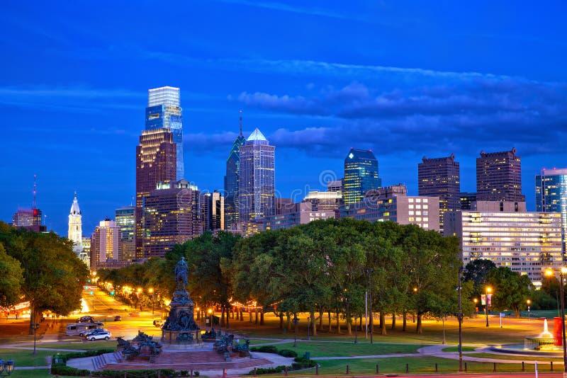 Philadelphia at dusk royalty free stock photography