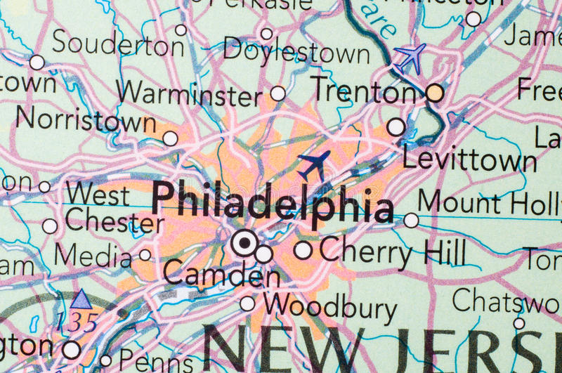 Philadelphia, en el mapa imágenes de archivo libres de regalías