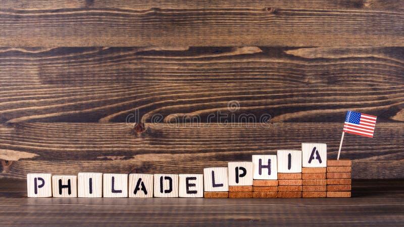 Philadelphia F?renta staterna Ekonomisk och invandringbegrepp för politik, arkivfoton