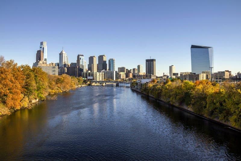 Philadelphia-Fallskyline lizenzfreie stockfotos