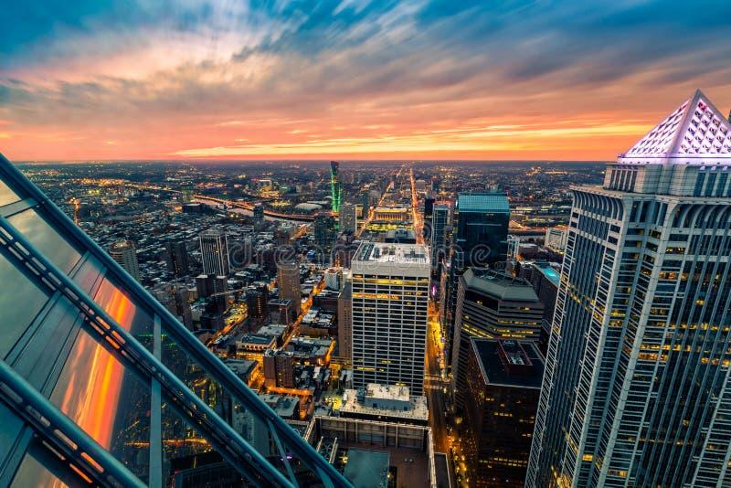 Philadelphia flyg- perspektiv på solnedgången arkivbilder