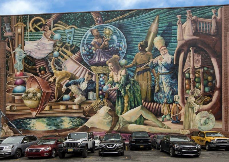 ` Philadelphia funderar `, en stad av skapelsen för det Philadelphia den vägg- konstprogrammet av Meg Saligman royaltyfri bild