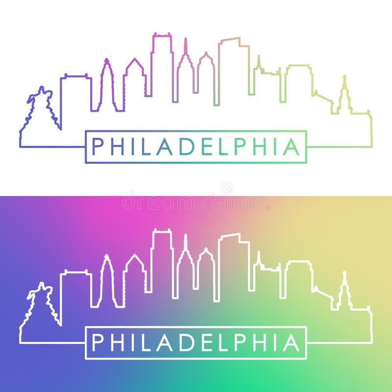 philadelphia linia horyzontu Kolorowy liniowy styl ilustracji