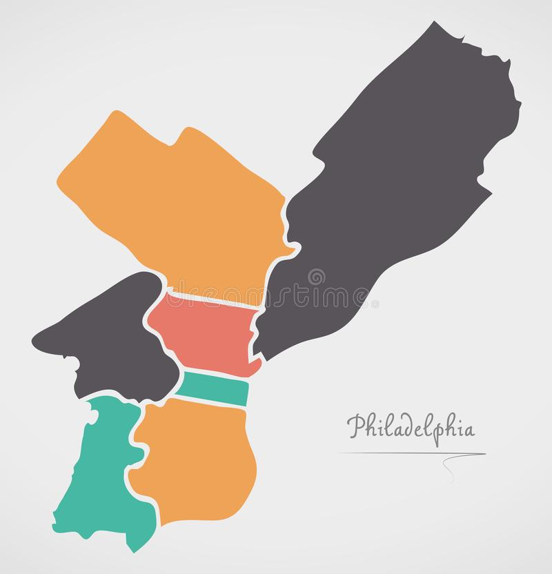 Philadelphia Map with boroughs and modern round shapes. Illustration royalty free illustration