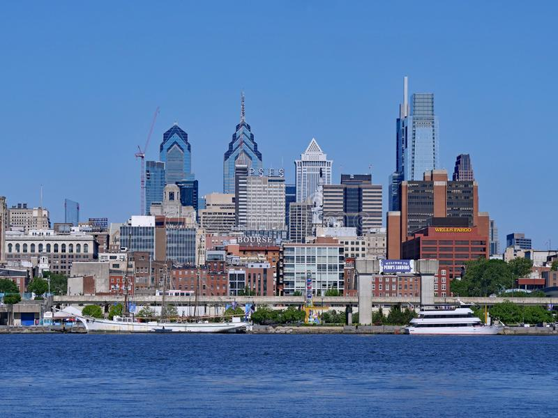 View of the Philadelphia skyline from across the Delaware River stock photography