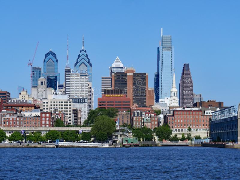 View of the Philadelphia skyline from across the Delaware River stock photo