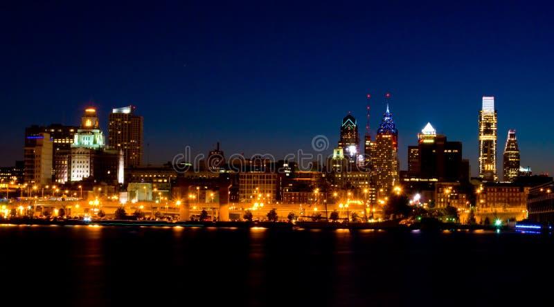 Philadelphia at night (panoramic) royalty free stock photo
