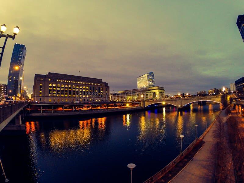 Philadelphia at night. Night scene of the city of Philadelphia stock photography