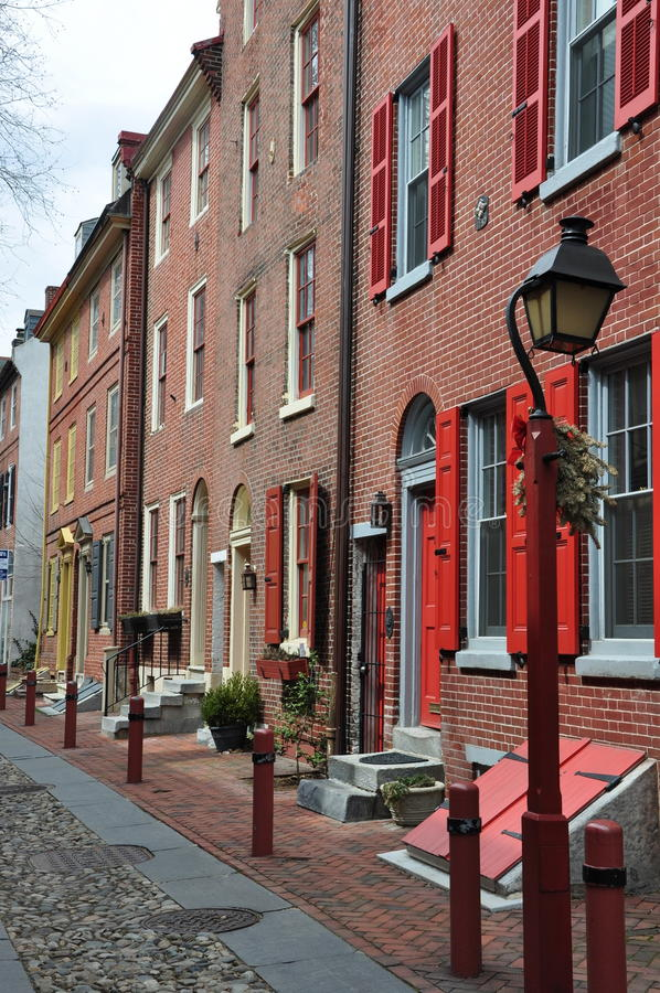 Philadelphia old city, luxuries houses. Historic part of philadelphia. Red shutters, old lanterns royalty free stock photography