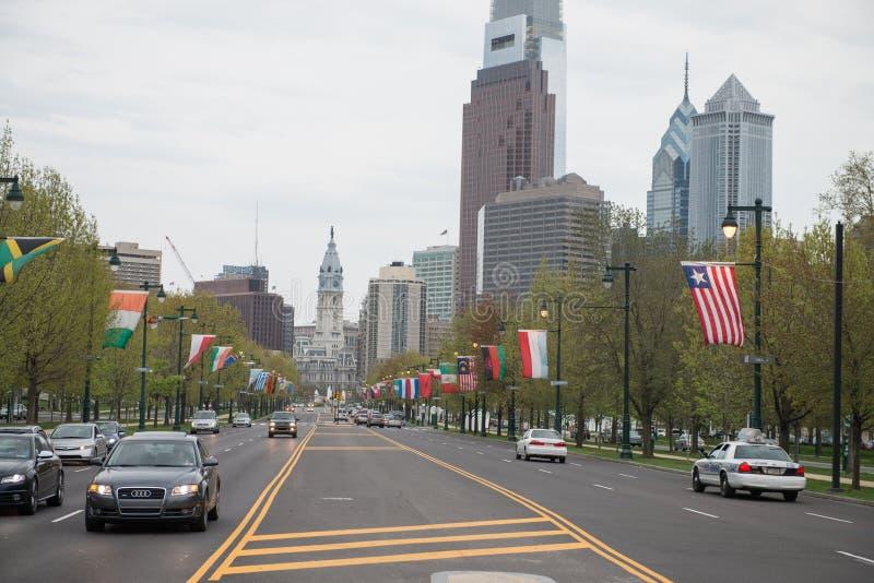 PHILADELPHIA, PA - APRIL 19: Benjamin Franklin Parkway from the Philadelphia Museum of Art with Center City skyscraper royalty free stock photos