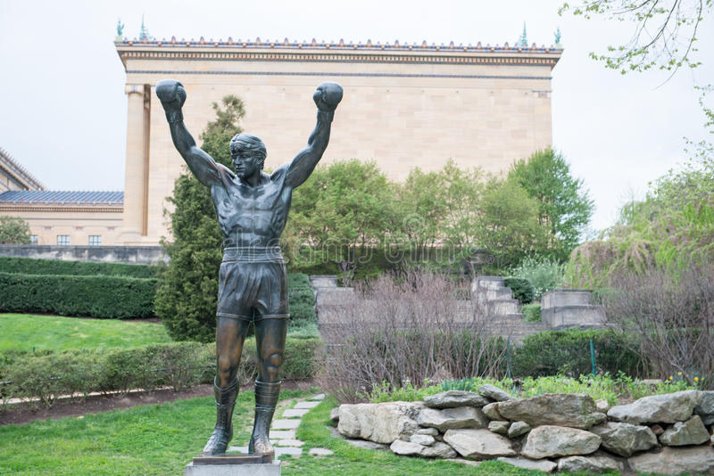 PHILADELPHIA, PA - APRIL 19: The Rocky Statue outside of the Philadelphia Museum of Art on April 19, 2013 royalty free stock photo