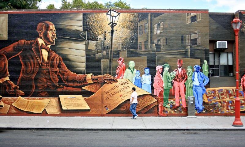 PHILADELPHIA, PA - 10 DE SEPTIEMBRE: Mural pintado en una pared en la calle del sur en Philadelphia, PA el 10 de septiembre de 20 fotos de archivo