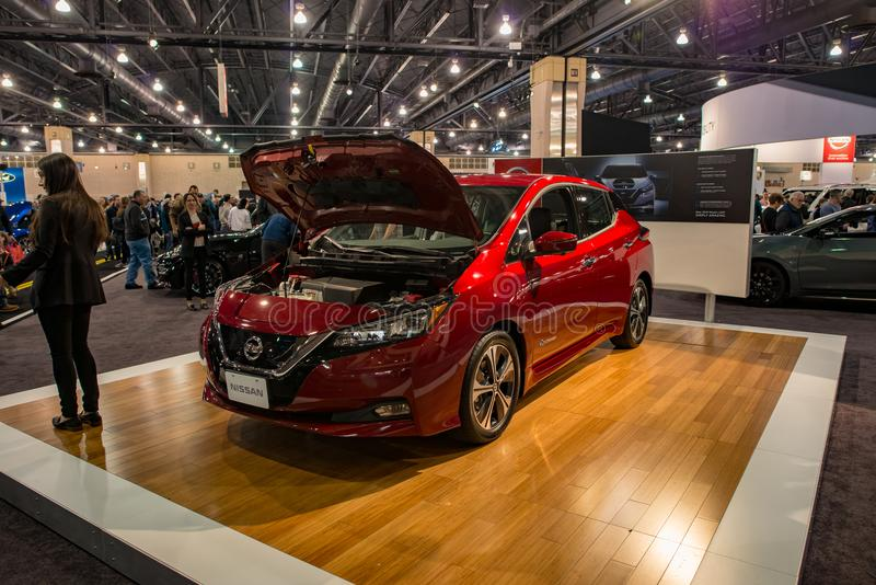 PHILADELPHIA, PA - Feb 3: Nissan Leaf EV electric vehicle at the 2018 Philadelphia Auto Show royalty free stock photography