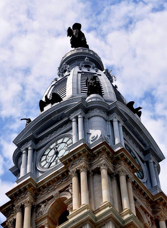 Philadelphia, PA: Philadelphia City Hall Tower. Philadelphia, Pennsylvania: Soaring 548 foot high tower topped by Alexander Milne Calder's statue of William Penn stock photos