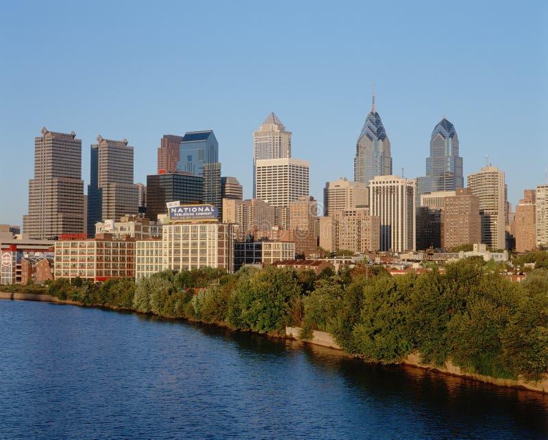 Philadelphia, PA skyline. Skyline of Philadelphia, Pennsylvania from Schuylkill River at sunset royalty free stock photography