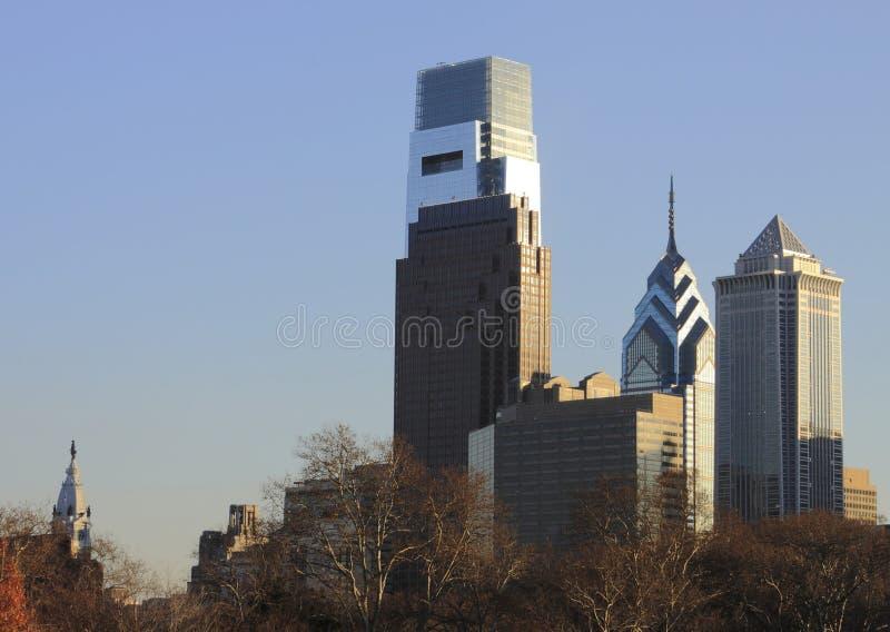 Philadelphia PA skyline with city hall stock photography
