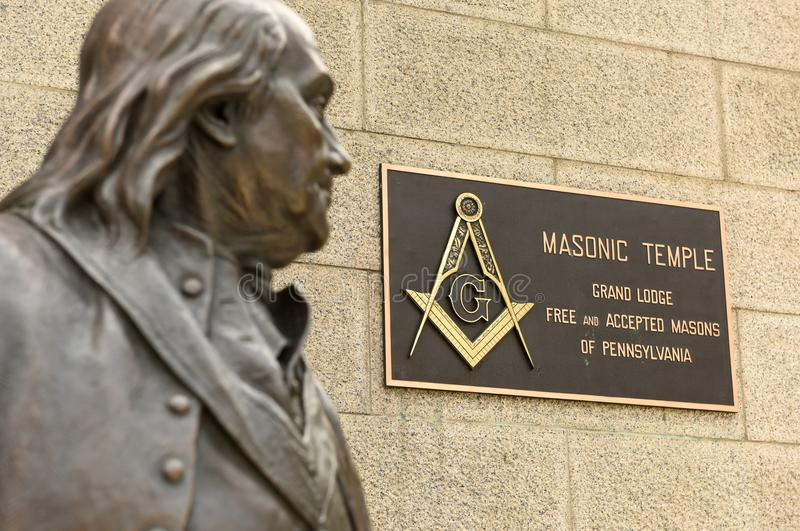 Philadelphia PA, USA - Maj 29, 2018: Staty av Benjamin Frankli royaltyfri bild