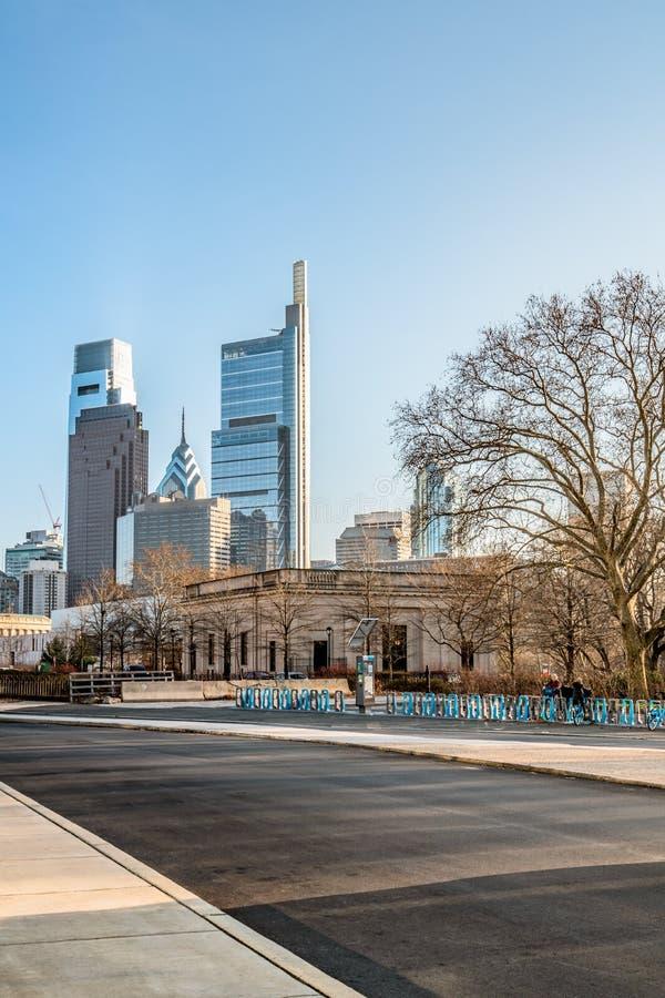 Philadelphia, Pennsylvania, de V.S. - December, 2018 - Horizonmening, dichtbij Rodin Museum royalty-vrije stock afbeelding