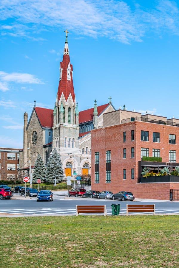 Philadelphia, Pennsylvania, de V.S. - December, 2018 - St Francis Xavier Catholic Church, de Retorica Fairmount royalty-vrije stock afbeeldingen