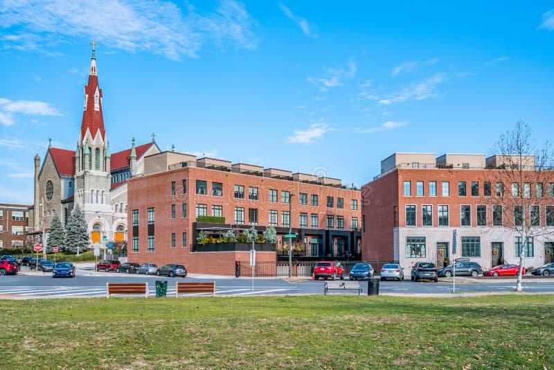 Philadelphia, Pennsylvania, de V.S. - December, 2018 - St Francis Xavier Catholic Church, de Retorica Fairmount royalty-vrije stock foto's